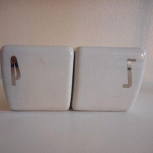 Vintage art deco white ceramic Salt & Pepper Set